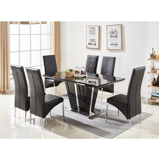 Memphis Glass Dining Table In Black Gloss With 6 Dining