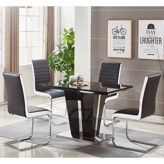 Memphis Glass Dining Table Small In Black And 4 Symphony Chairs