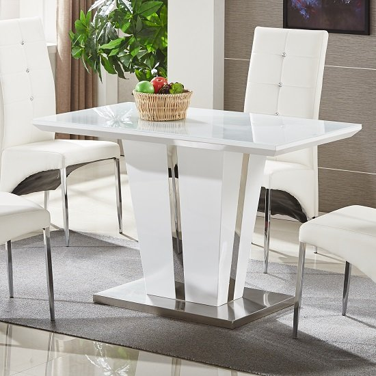 memphis glass dining table small in white gloss and chrome. Black Bedroom Furniture Sets. Home Design Ideas