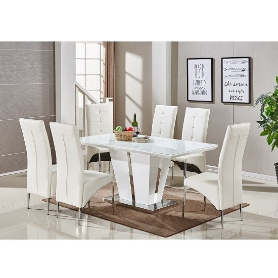 Memphis Glass Dining Table In White Gloss With 6 Dining Chairs_1