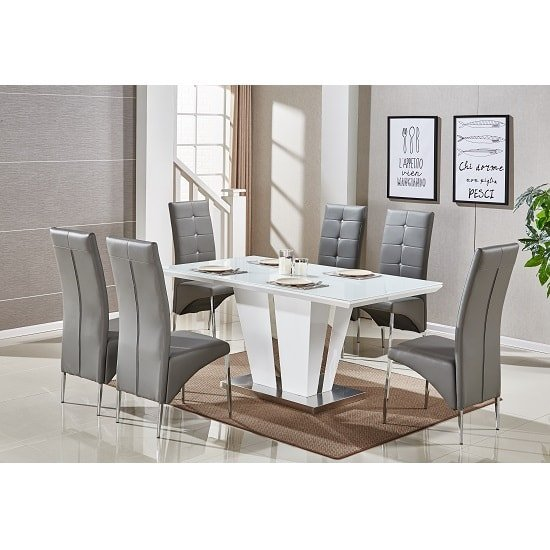 616948eb1df Memphis Glass Dining Table In White Gloss With 6 Grey Chairs 1