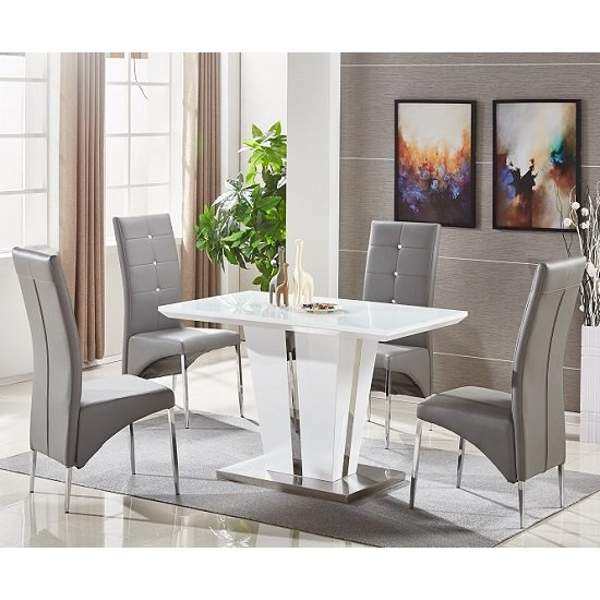 small glass dining table. Memphis White Glass Small Dining Table With 4 Grey Chairs