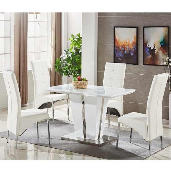 memphis glass dining table small in white with 4 dining. Black Bedroom Furniture Sets. Home Design Ideas