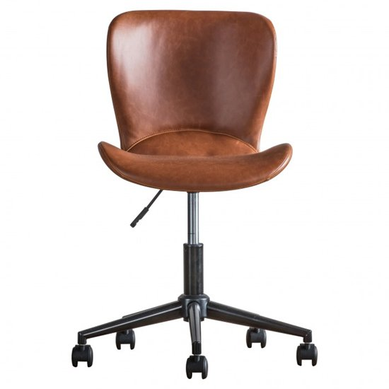Mendel Faux Leather Swivel Office Chair In Brown