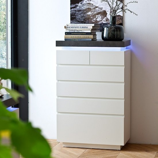 Mentis Chest of Drawers In Matt White And Concrete With LED