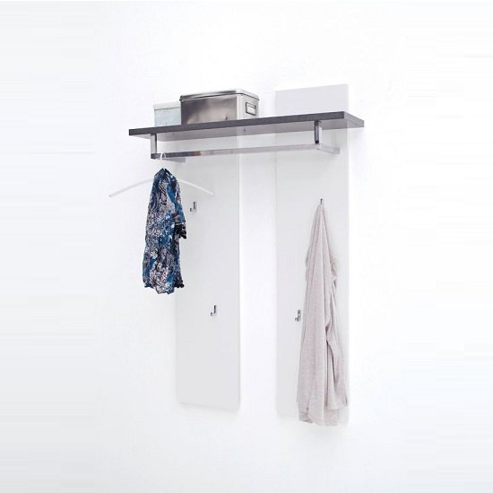 Mentis Wall Mounted Coat Rack In Matt White And Concrete
