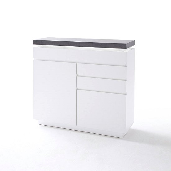 Mentis Compact Sideboard In Matt White And Concrete With LED