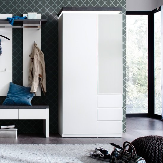 Read more about Mentis hallway wardrobe in matt white and concrete with led