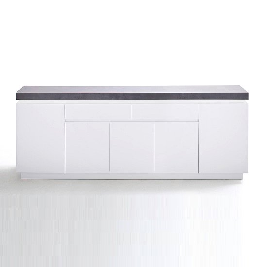 Mentis Large Sideboard In Matt White And Concrete With LED_3