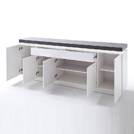 Mentis Large Sideboard In Matt White And Concrete With LED_2