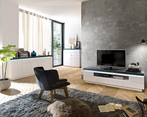 Mentis TV Stand In Matt White Concrete With 5 Drawers And LED_9