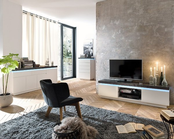 Mentis Sideboard With LED In Matt White And Concrete With 4 Door_5