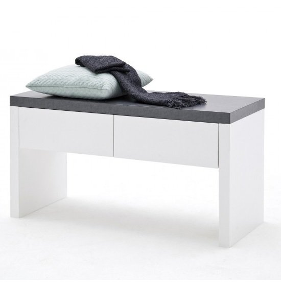 Mentis Shoe Bench In Matt White And Concrete With 2 Drawers