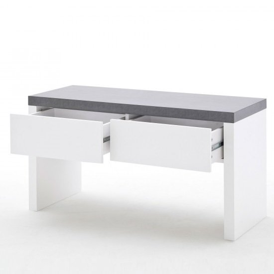 Mentis Shoe Bench In Matt White And Concrete With 2 Drawers_2