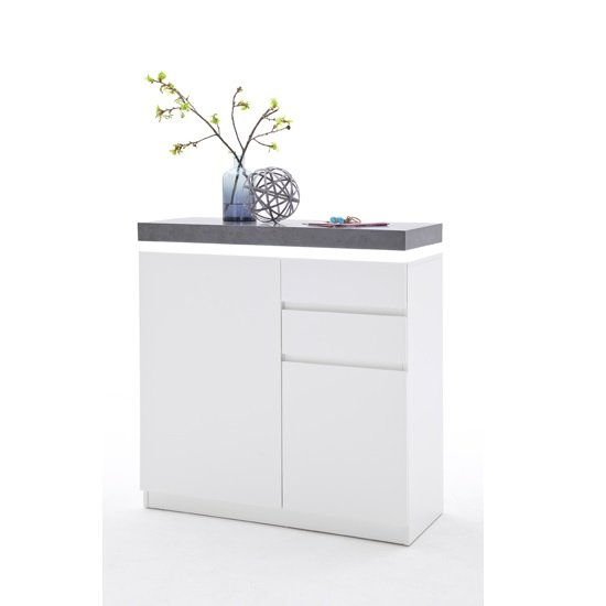Mentis Shoe Storage Cabinet In Matt White And Concrete With LED