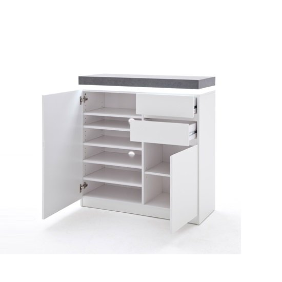 Mentis Shoe Storage Cabinet In Matt White And Concrete With LED_2