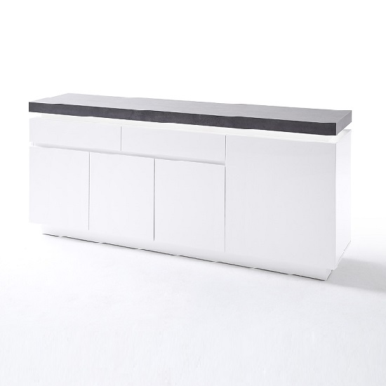 Mentis Sideboard With LED In Matt White And Concrete With 4 Door