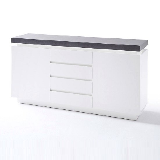 Mentis Sideboard With LED In Matt White Concrete And 4 Drawers