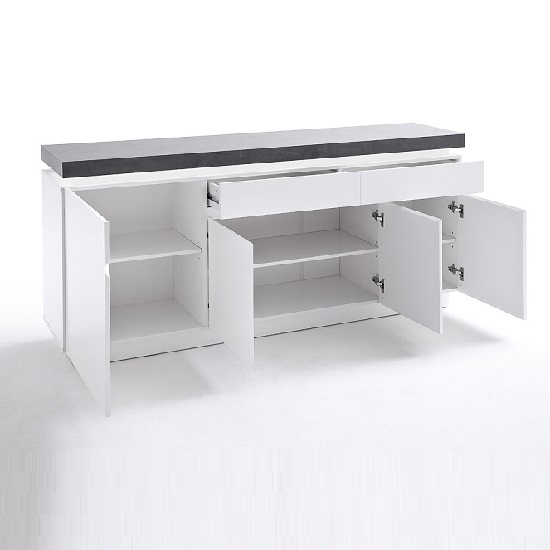 Mentis Sideboard With LED In Matt White And Concrete With 4 Door_2