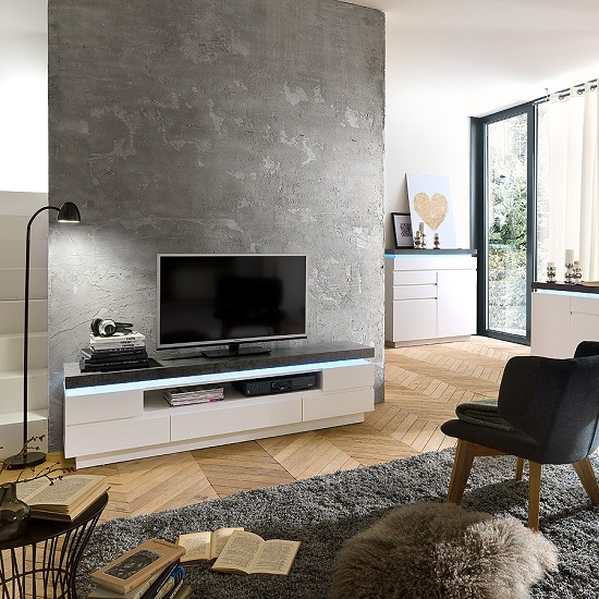 Mentis TV Stand In Matt White Concrete With 5 Drawers And LED_10