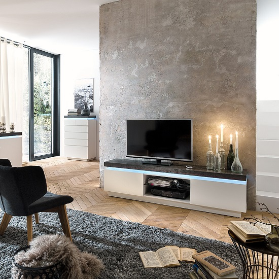 Mentis TV Stand With LED In Matt White And Concrete_1