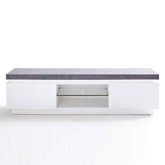 Mentis TV Stand With LED In Matt White And Concrete_3
