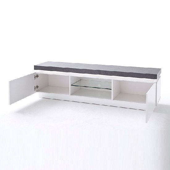 Mentis TV Stand With LED In Matt White And Concrete_2