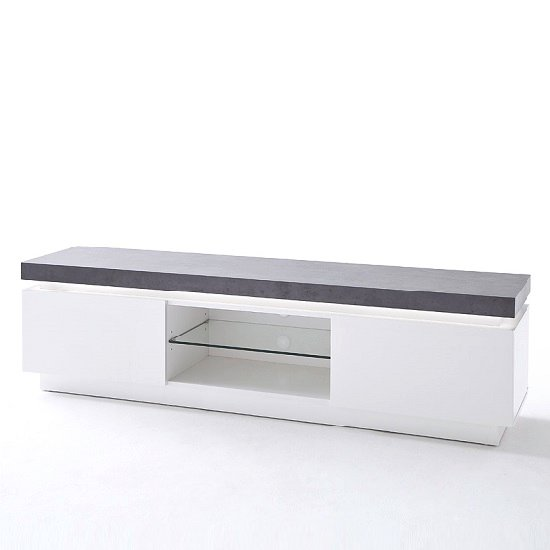 Mentis TV Stand With LED In Matt White And Concrete_4