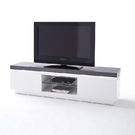 Mentis TV Stand With LED In Matt White And Concrete_6