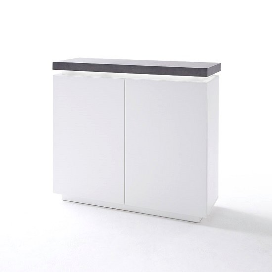 Mentis Sideboard In Matt White And Concrete With LED