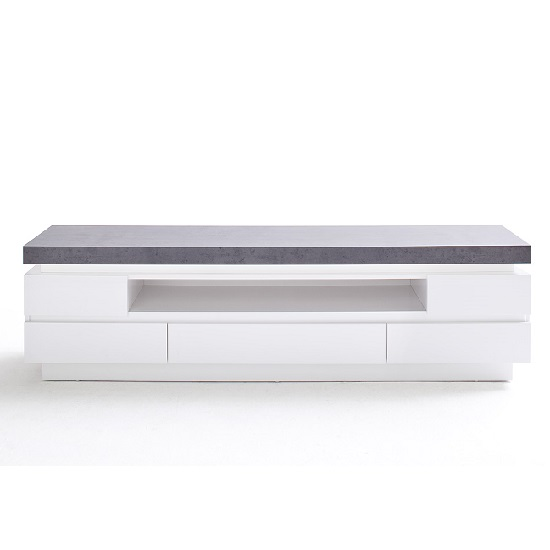 Mentis TV Stand In Matt White Concrete With 5 Drawers And LED_4