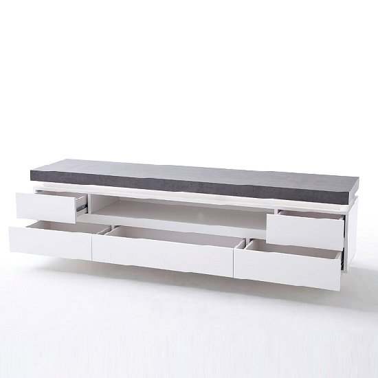 Mentis TV Stand In Matt White Concrete With 5 Drawers And LED_2