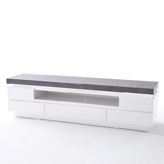 Mentis TV Stand In Matt White Concrete With 5 Drawers And LED_3
