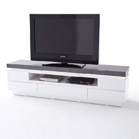 Mentis TV Stand In Matt White Concrete With 5 Drawers And LED_5