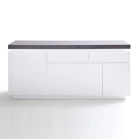 Mentis Sideboard With LED In Matt White And Concrete With 4 Door_4