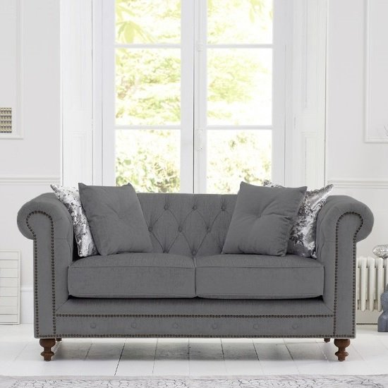 Mentor Fabric 2 Seater Sofa In Grey Linen With Dark Ash Legs_1