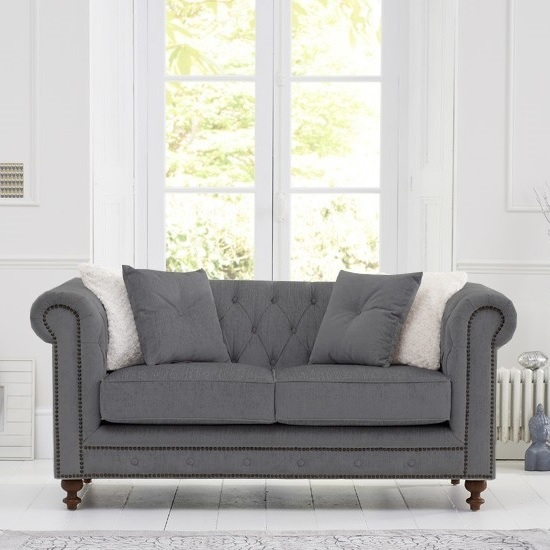 Mentor Fabric 2 Seater Sofa In Grey Linen With Dark Ash Legs_4