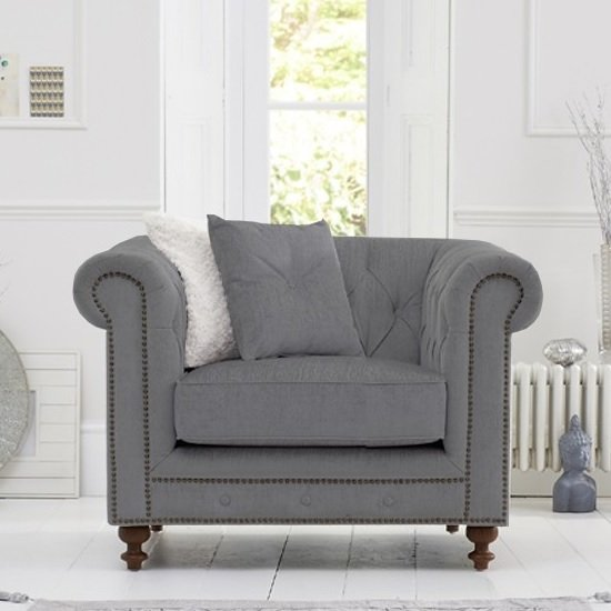 Mentor Fabric Sofa Chair In Grey Linen With Dark Ash Legs