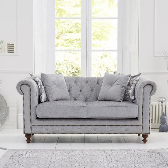 Mentor Fabric 2 Seater Sofa In Grey With Dark Ash Legs_1