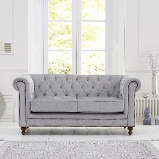 Mentor Fabric 2 Seater Sofa In Grey With Dark Ash Legs_2