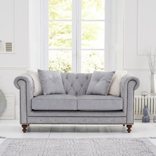 Mentor Fabric 2 Seater Sofa In Grey With Dark Ash Legs_5