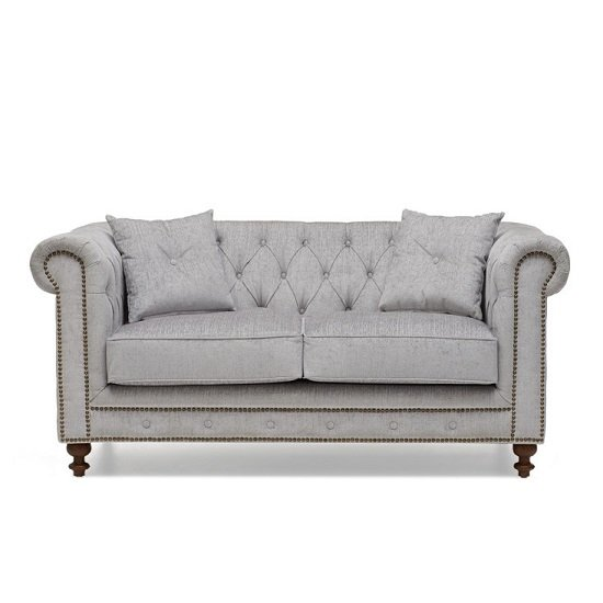 Mentor Fabric 2 Seater Sofa In Grey With Dark Ash Legs_6