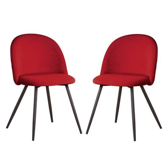 Meran Red Fabric Dining Chairs In A Pair