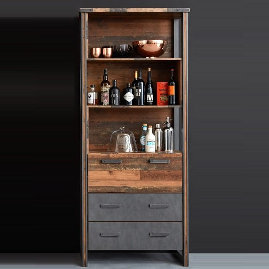 Merano Wooden Bar Cabinet In Old Wood With 3 Open Compartments
