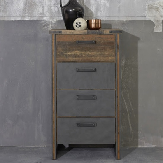 Merano Wooden Chest Of Drawers In Old Wood And Matera Grey