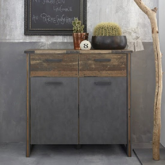 Merano Wooden Compact Sideboard In Old Wood And Matera Grey_1