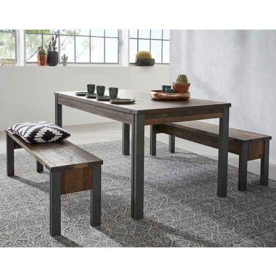 Merano Dining Table In Old Wood Matera Grey Legs With 2 Benches