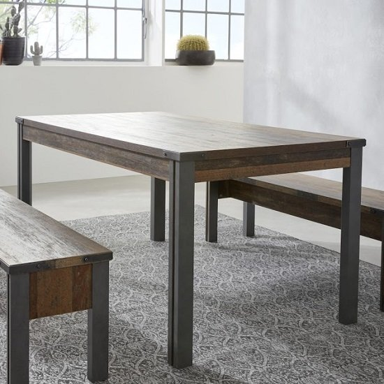 Merano Wooden Dining Table In Old Wood With Matera Grey Legs_2