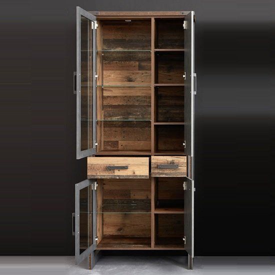 Merano Wooden Display Cabinet In Old Wood With LED Lighting_2