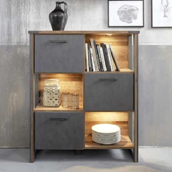 Merano Wooden Shelving Unit In Old Wood And Matera Grey And LED